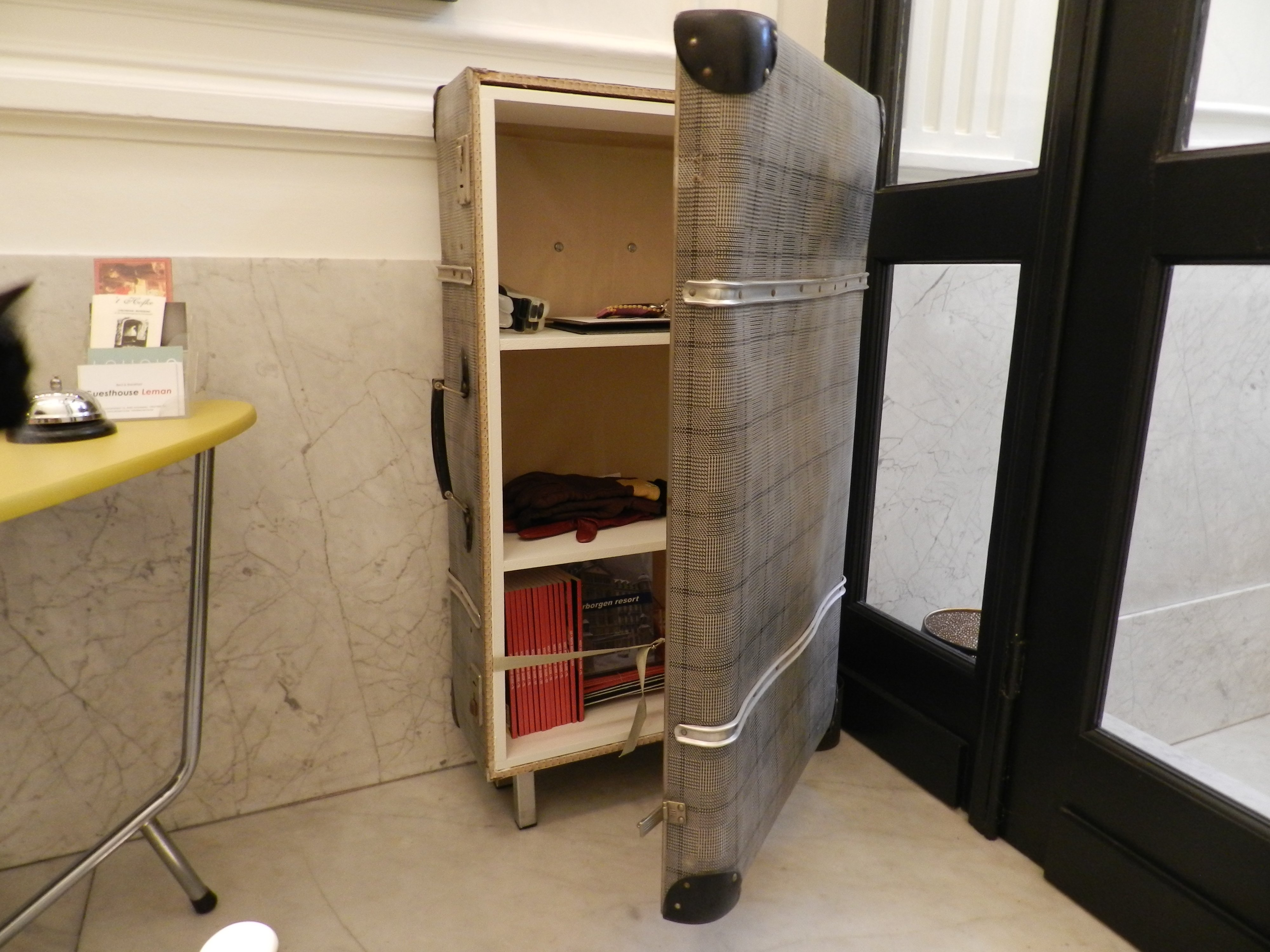 Suitcase turned into cabinet